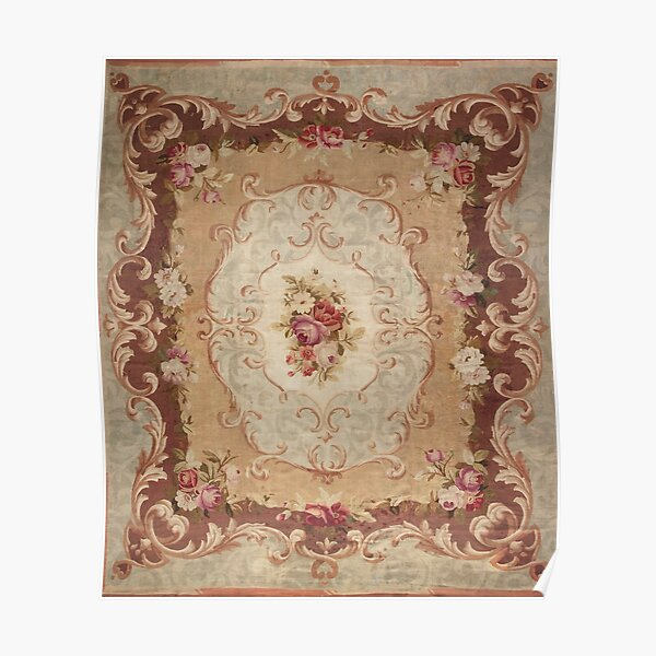 Antique Rose Floral French Aubusson Rug Print Poster