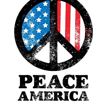 Peace Sign I Love America USA 4th of July Patriotic T shirt by DesIndie