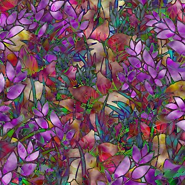 Floral Abstract Stained Glass G175 by Medusa81