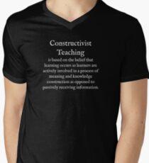 C:Constructivist Teaching:WearYourWords:English:White Text  Men's V-Neck T-Shirt