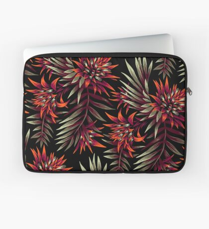 Fasciata Tropical Floral - Dark Orange / Purple Laptop Sleeve