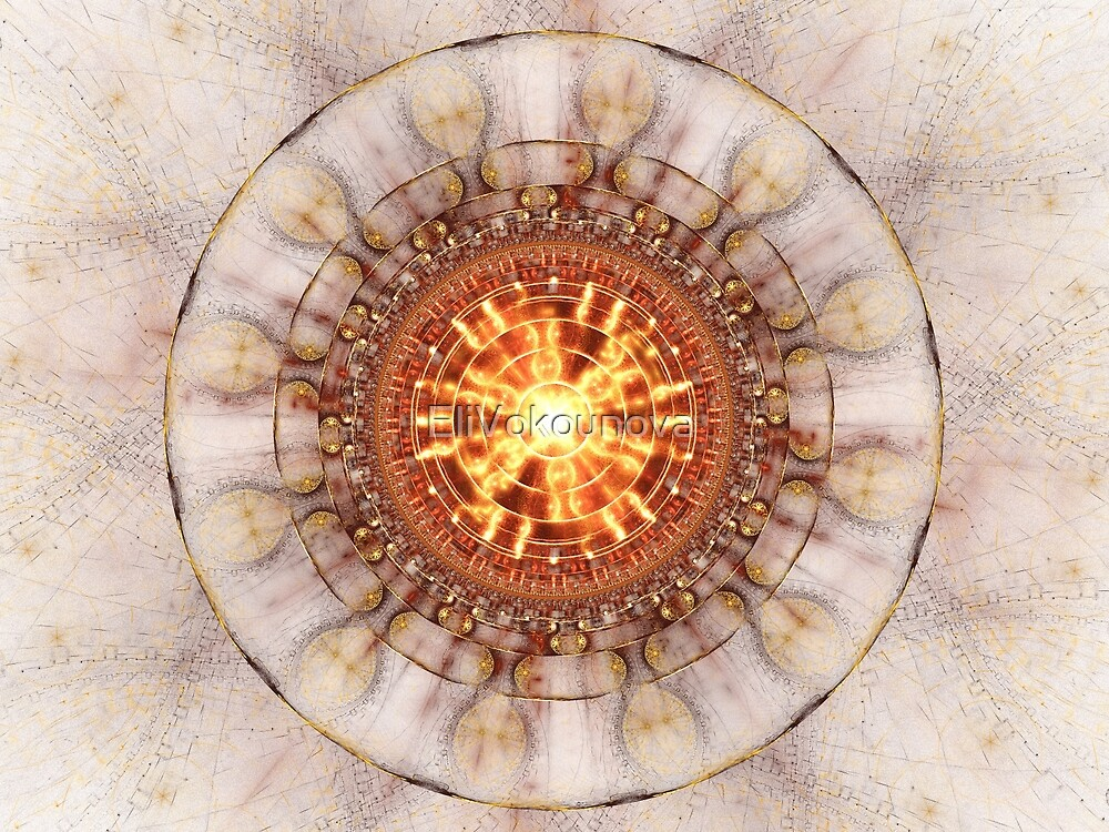 Aztec Medailon - Abstract Fractal Artwork by EliVokounova