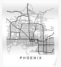 Minimalistische Stadt-Stadtplan-Karten-dunkles Design Phoenix AZ Poster
