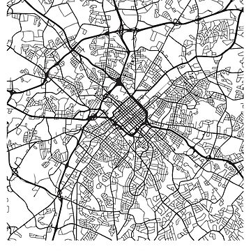 Charlotte NC Minimalist City Street Map Dark Design by Andrewkgolf
