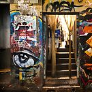 Graffiti and doorway, Melbourne by Roz McQuillan