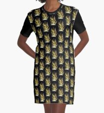 Gold Coral Graphic T-Shirt Dress