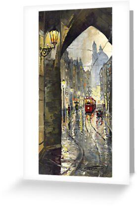 Prague Mostecka street Old Tram by Yuriy Shevchuk