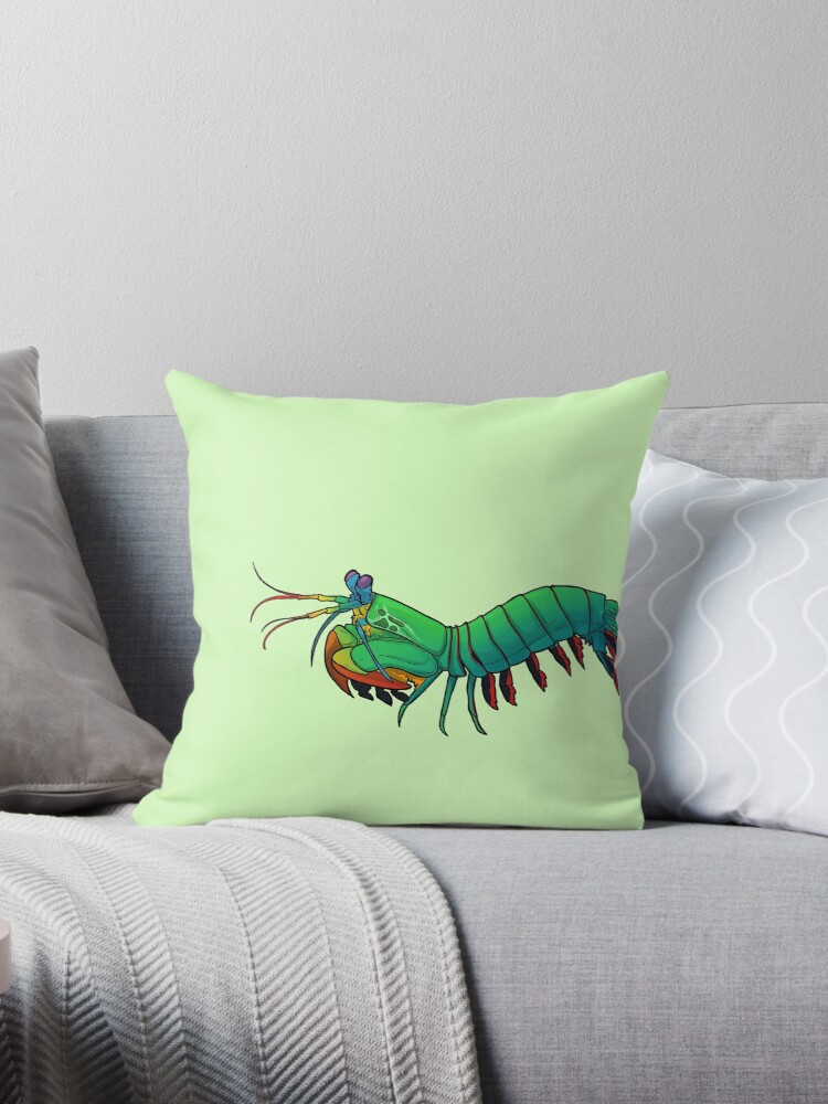 'Friendly Mantis Shrimp ' Throw Pillow by Crownleys
