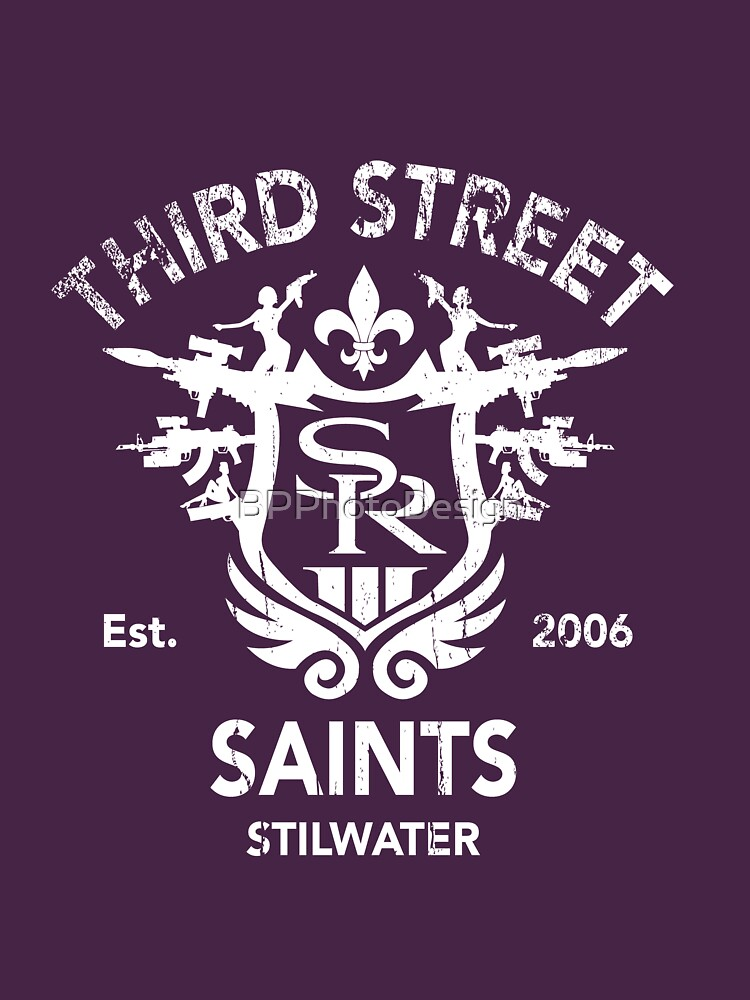 Saints Row 3 Tribute Distressed White Unisex T Shirt By