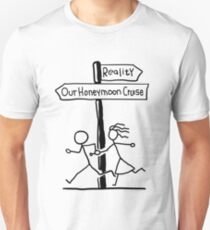 Funny Signpost Themed Honeymoon Cruise Design Unisex T-Shirt