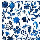 Watercolor floral pattern in blue colors by StefaStefo4ka