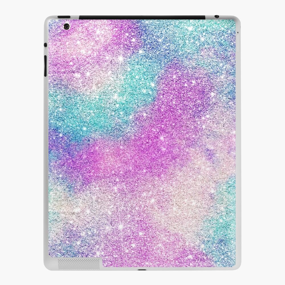 Modern girly pastel glitter sparkle nebula ultra violet turquoise pink iPad Case & Skin