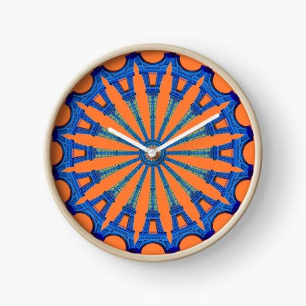 Eiffel Wheel - blue on orange Clock