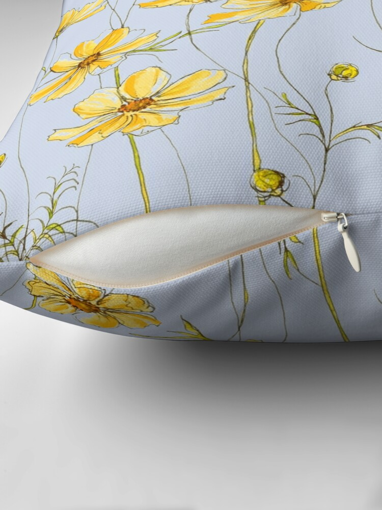 Alternate view of Yellow Cosmos Flowers Floor Pillow
