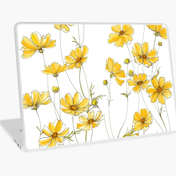 Yellow Cosmos Flowers Laptop Skin