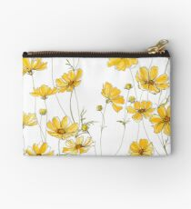 Yellow Cosmos Flowers Zipper Pouch