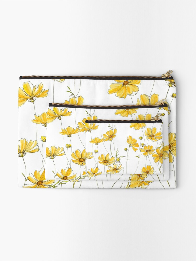 Alternate view of Yellow Cosmos Flowers Zipper Pouch