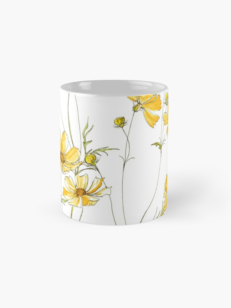 Alternate view of Yellow Cosmos Flowers Mugs