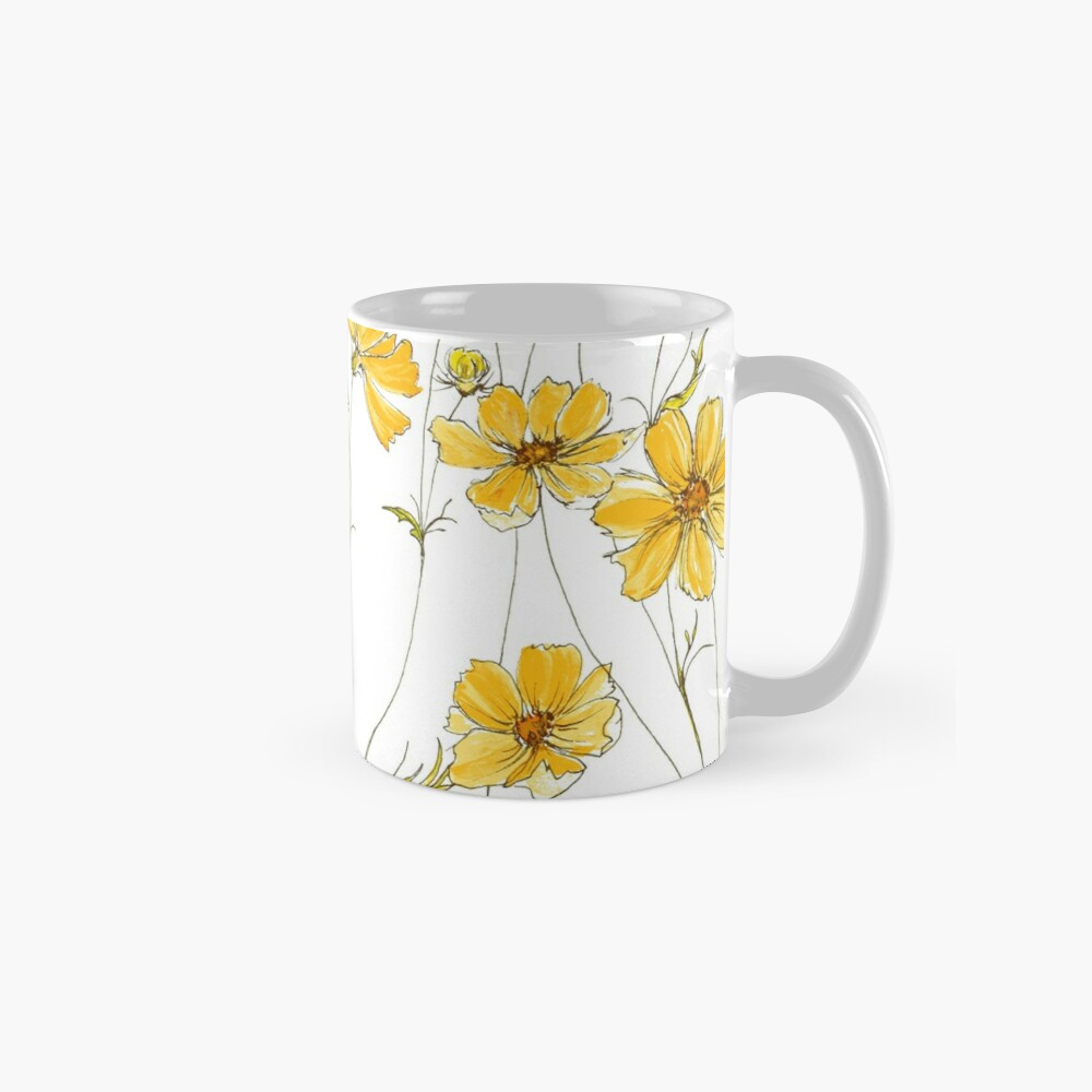 Yellow Cosmos Flowers Mugs