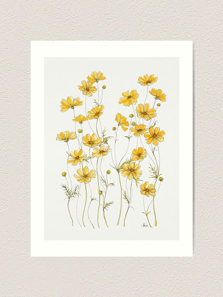 Alternate view of Yellow Cosmos Flowers Art Print