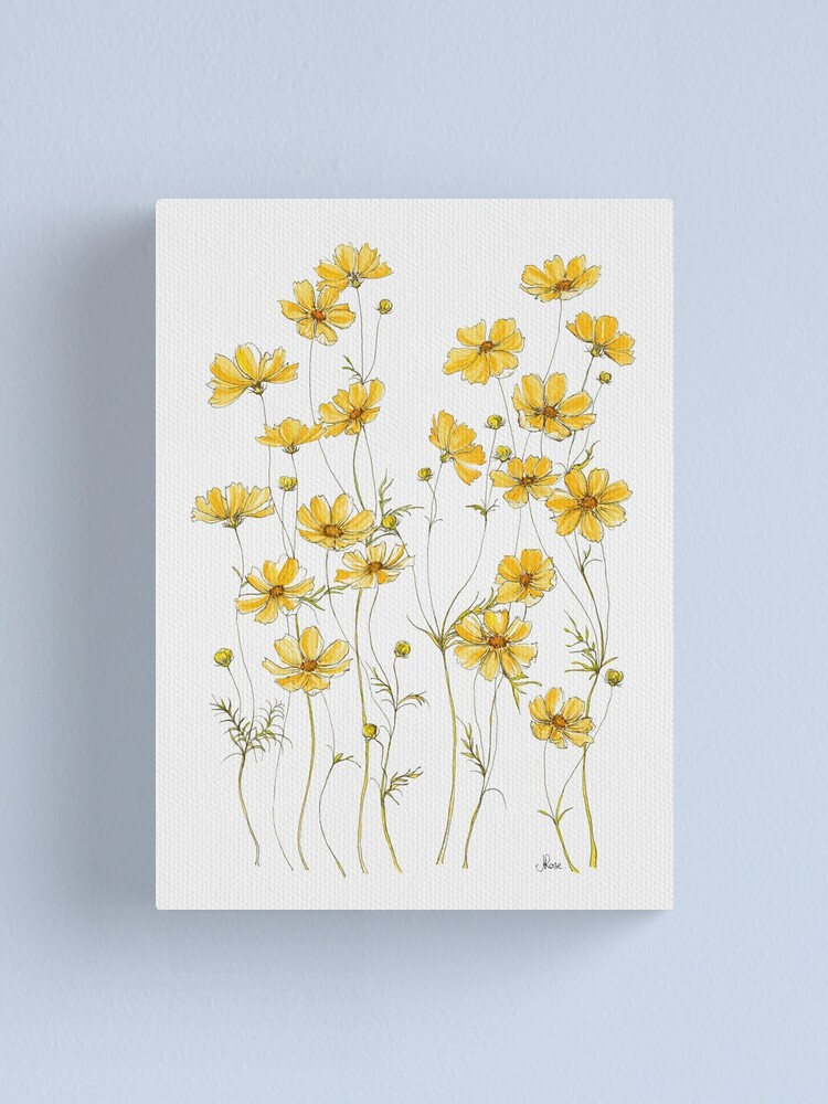 Alternate view of Yellow Cosmos Flowers Canvas Print