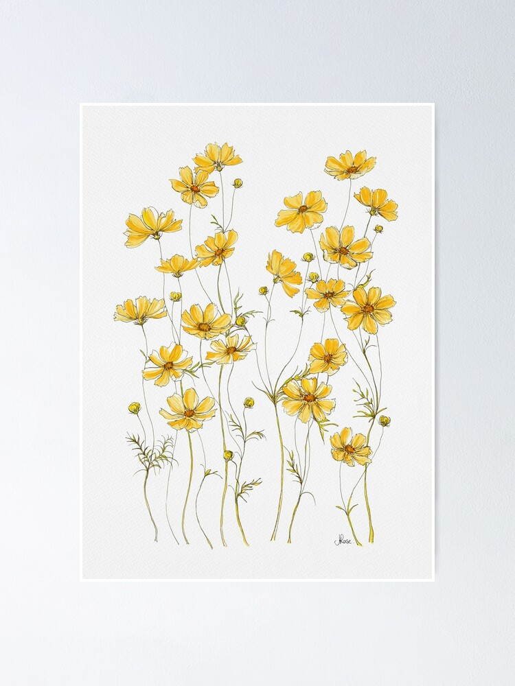 Alternate view of Yellow Cosmos Flowers Poster