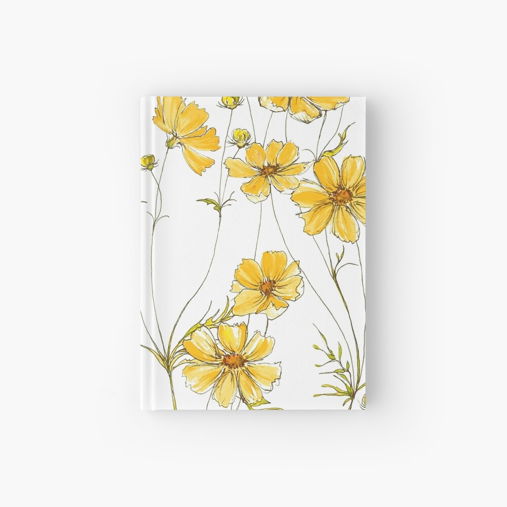 Yellow Cosmos Flowers Hardcover Journal