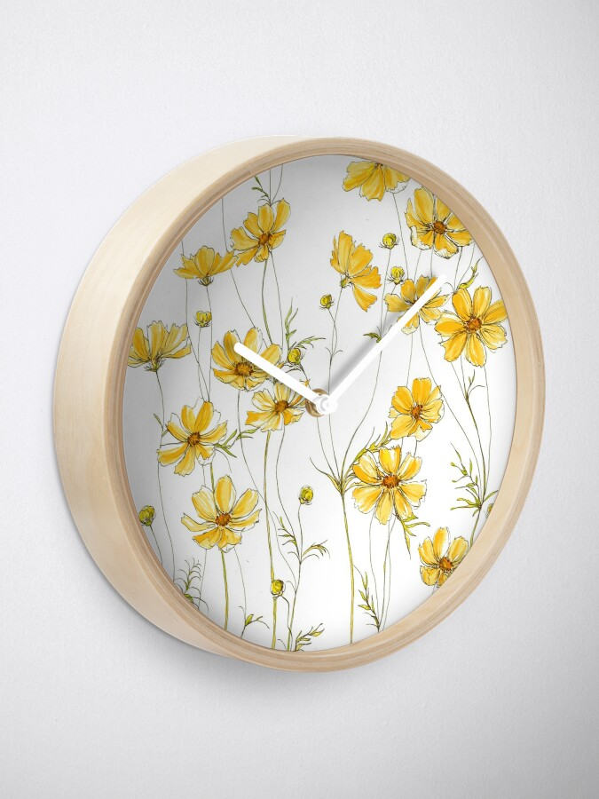 Alternative Ansicht von Gelbe Kosmosblumen Uhr