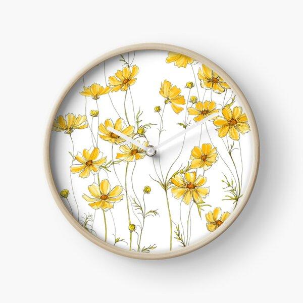 Yellow Cosmos Flowers Clock