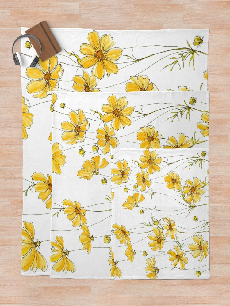 Alternate view of Yellow Cosmos Flowers Throw Blanket