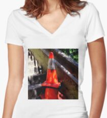 Upstairs Downstairs Women's Fitted V-Neck T-Shirt