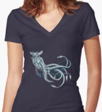 Camiseta entallada de cuello en V Mar - Emperador