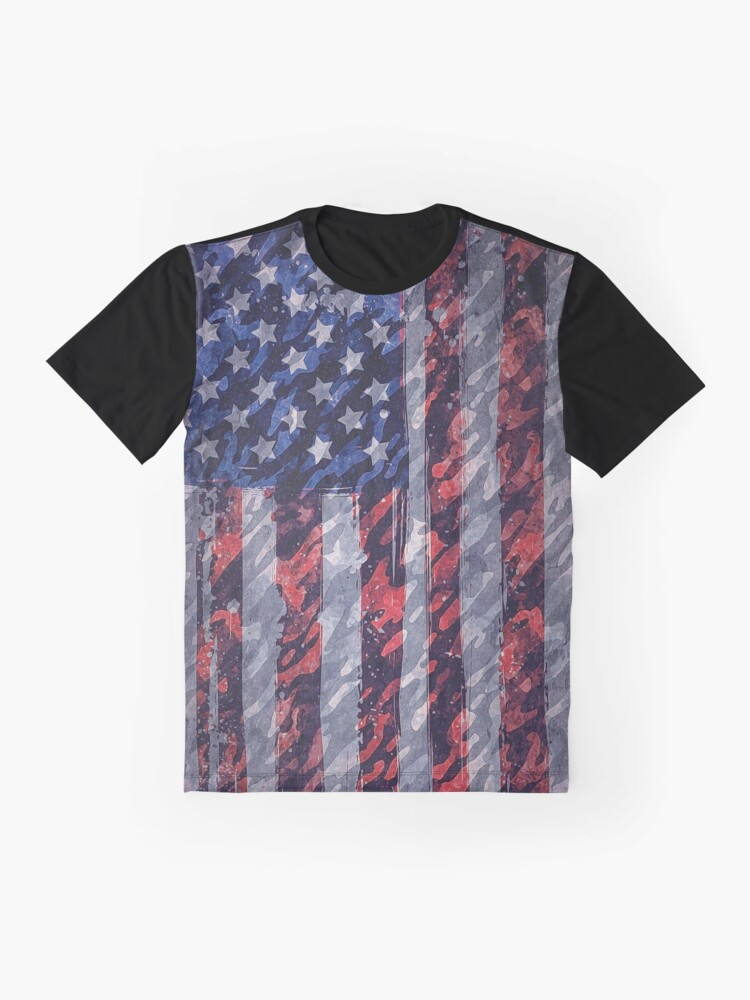 Alternate view of Rustic American Flag Graphic T-Shirt