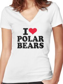 I love Polar Bears Women's Fitted V-Neck T-Shirt