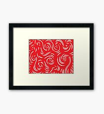 Wardian Abstract Expression Red White Framed Print