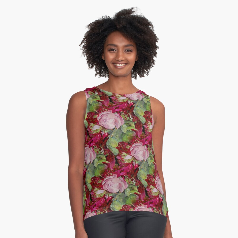 Old roses Contrast Tank Front