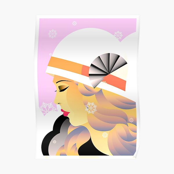 Art Deco Lady in Hat Pink Tones Poster