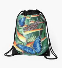 heliconia and morphos Drawstring Bag