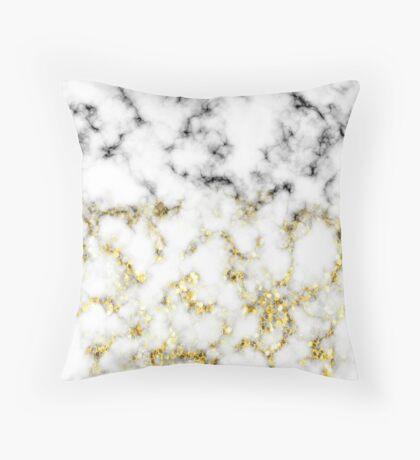Black and white marble gold sparkle flakes Throw Pillow