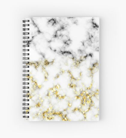 Black and white marble gold sparkle flakes Spiral Notebook