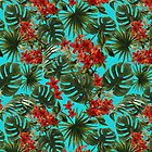 Tropical Red Flowers and Monstera Pattern by UtArt