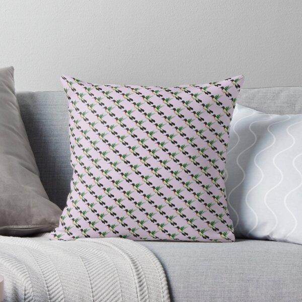 Hummingbird Pattern in Purple Throw Pillow