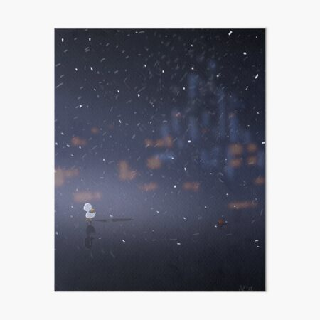 Duckling Caught in the Snow Art Board Print