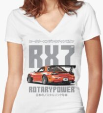 Mazda RX7 Women's Fitted V-Neck T-Shirt