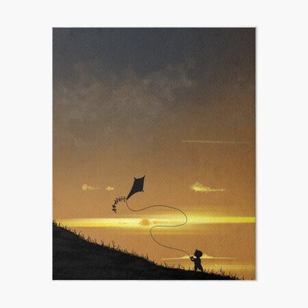 Kite-Flying at Sunset Art Board Print