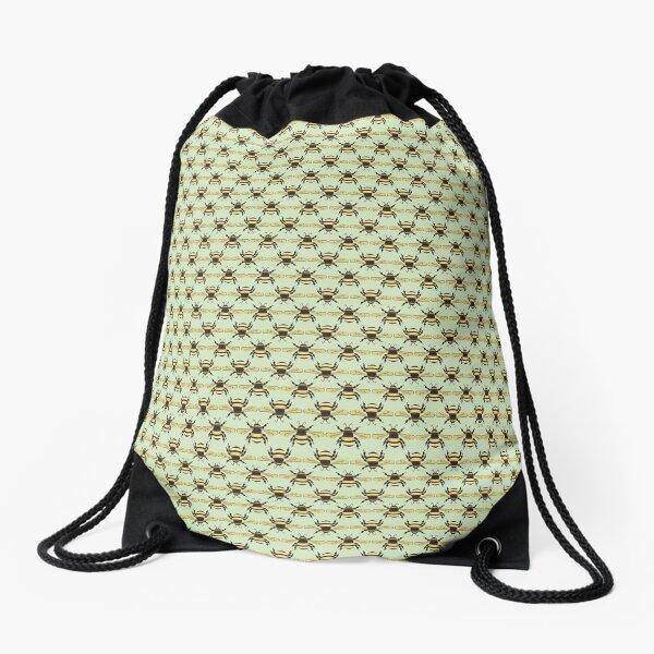 Bumblebee Pattern in Green Drawstring Bag