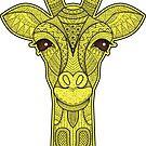 Giraffe African Animal Hippy Bright Colors Cute Yellow by MyHandmadeSigns