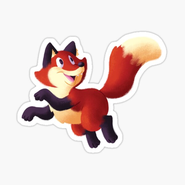 Happy Prancing Red Fox Sticker