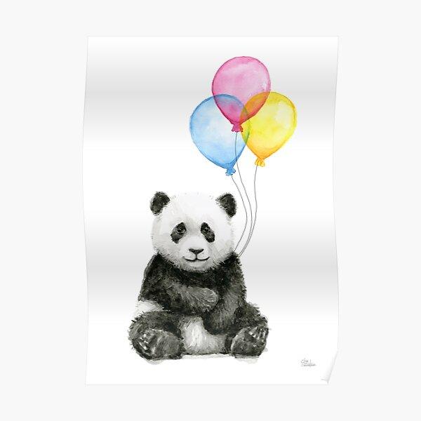 Baby Panda Watercolor with Balloons Nursery Animal Art Poster