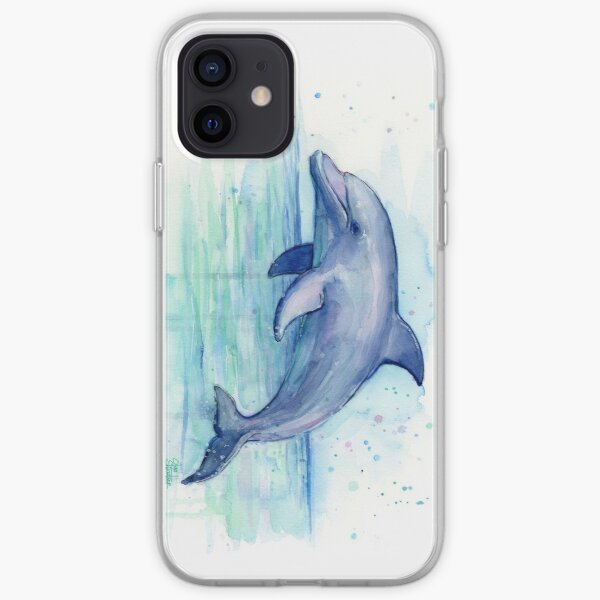 Dolphin Watercolor iPhone Soft Case